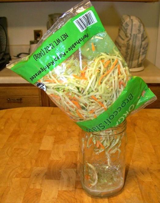 Stuff Slaw Into Jar for Fermented Broccoli Kraut